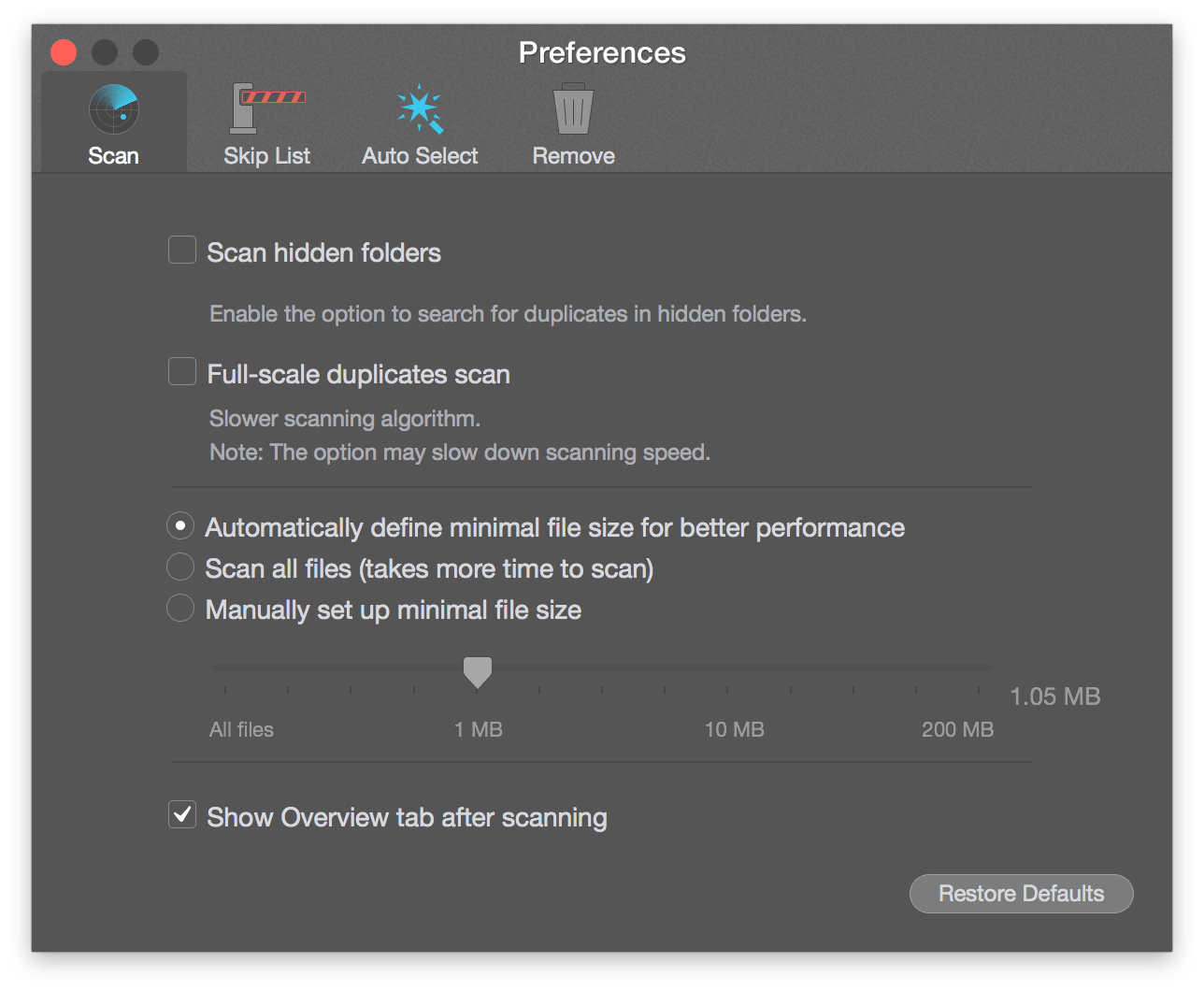 duplicate file remover-settings