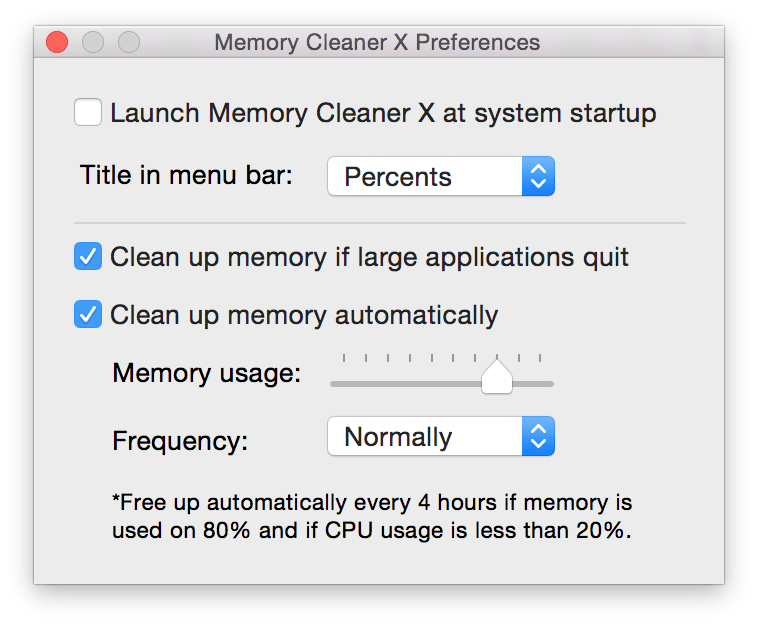 memory cleaner preferences screenshot