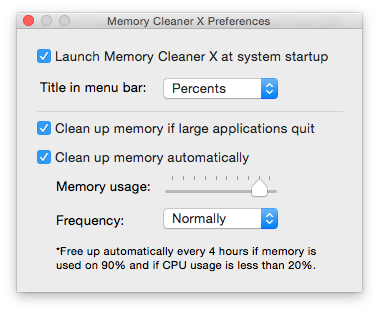 Memory Cleaner X autocleaning