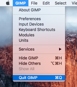 The Quit GIMP menu command is selected