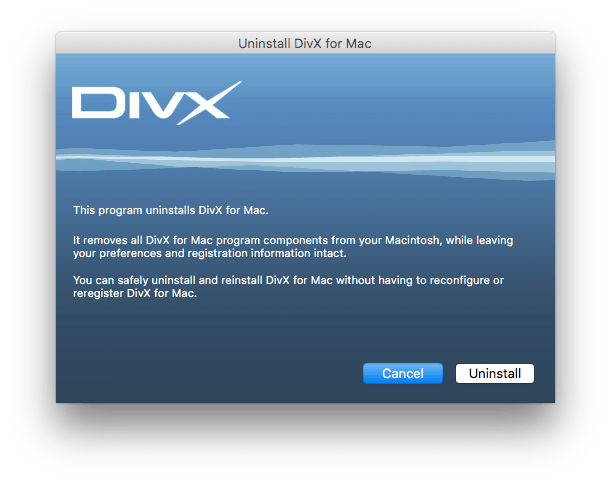 Uninstall DivX from mac provided uninstaller screenshot