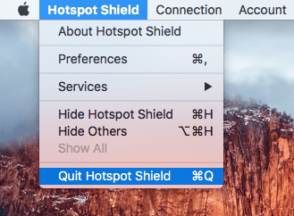 Quit Hotspot Shield menu command