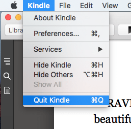 The Quit Kindle menu command is selected
