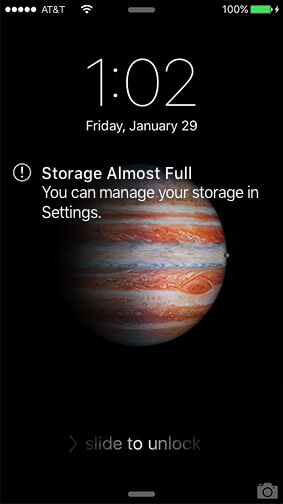 iPhone storage full screenshot
