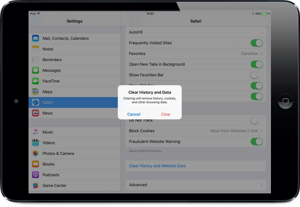how to remove search history on ipad