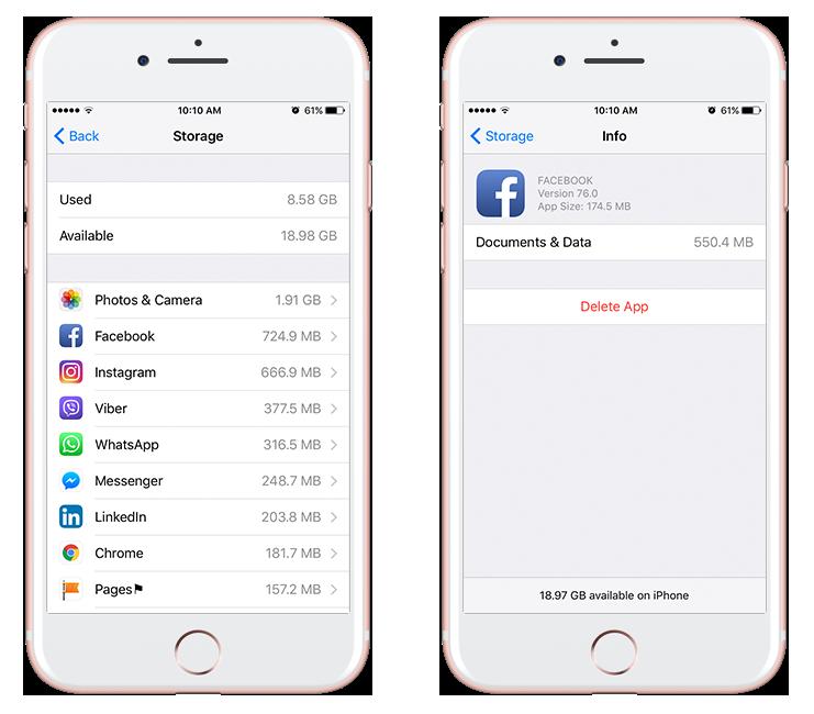 storage on iphone