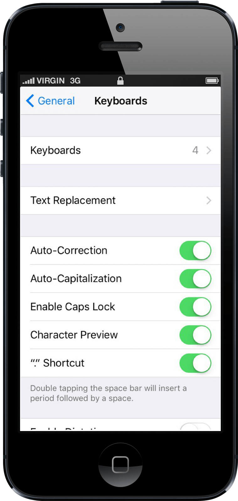 text replacement settings
