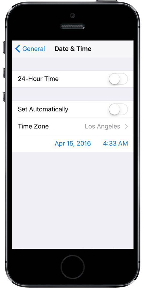 set up time preferences iPhone screenshot