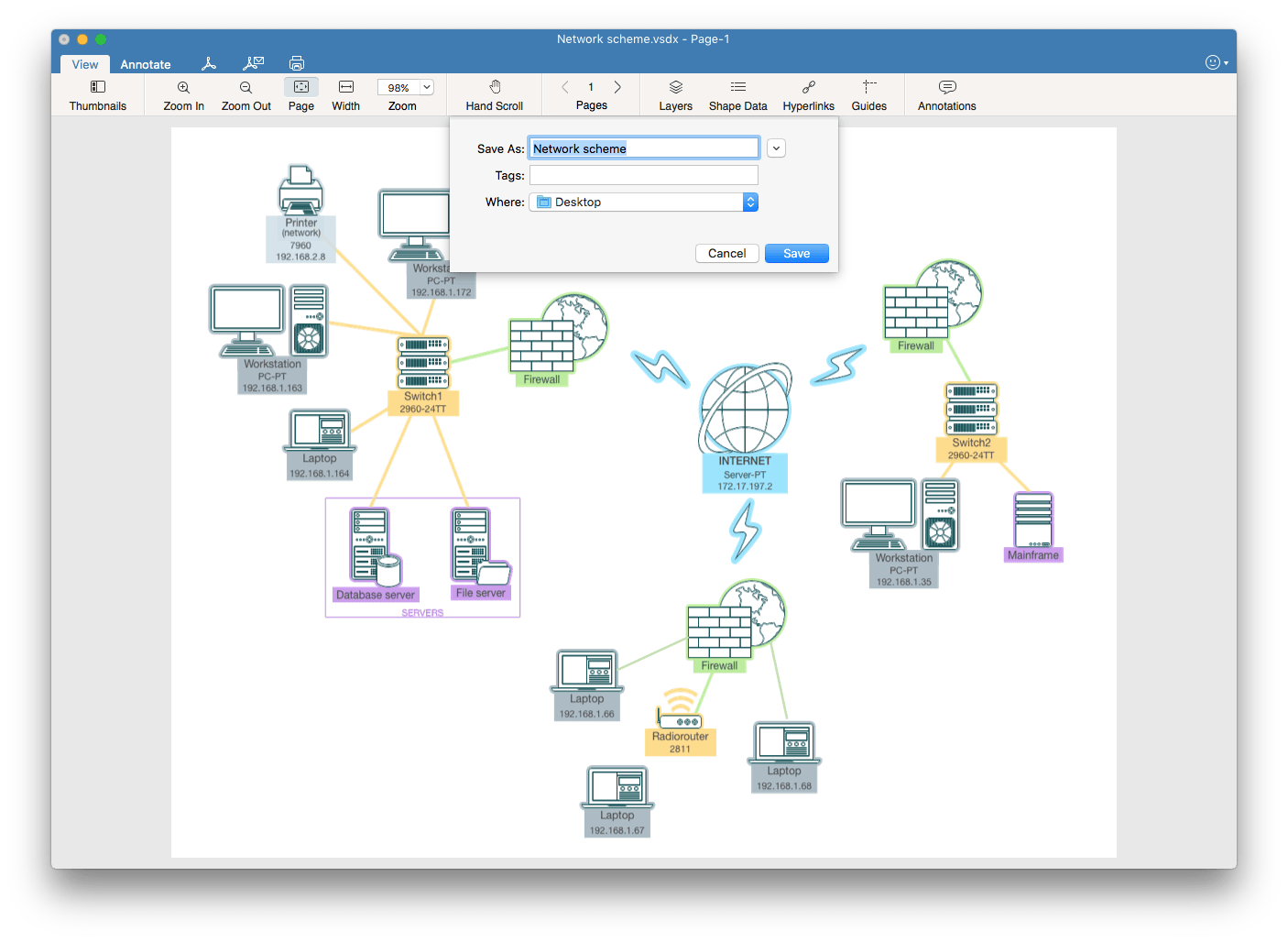 Visio convert to PDF on Mac