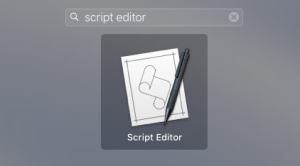 searching for Script Editor in Launchpad