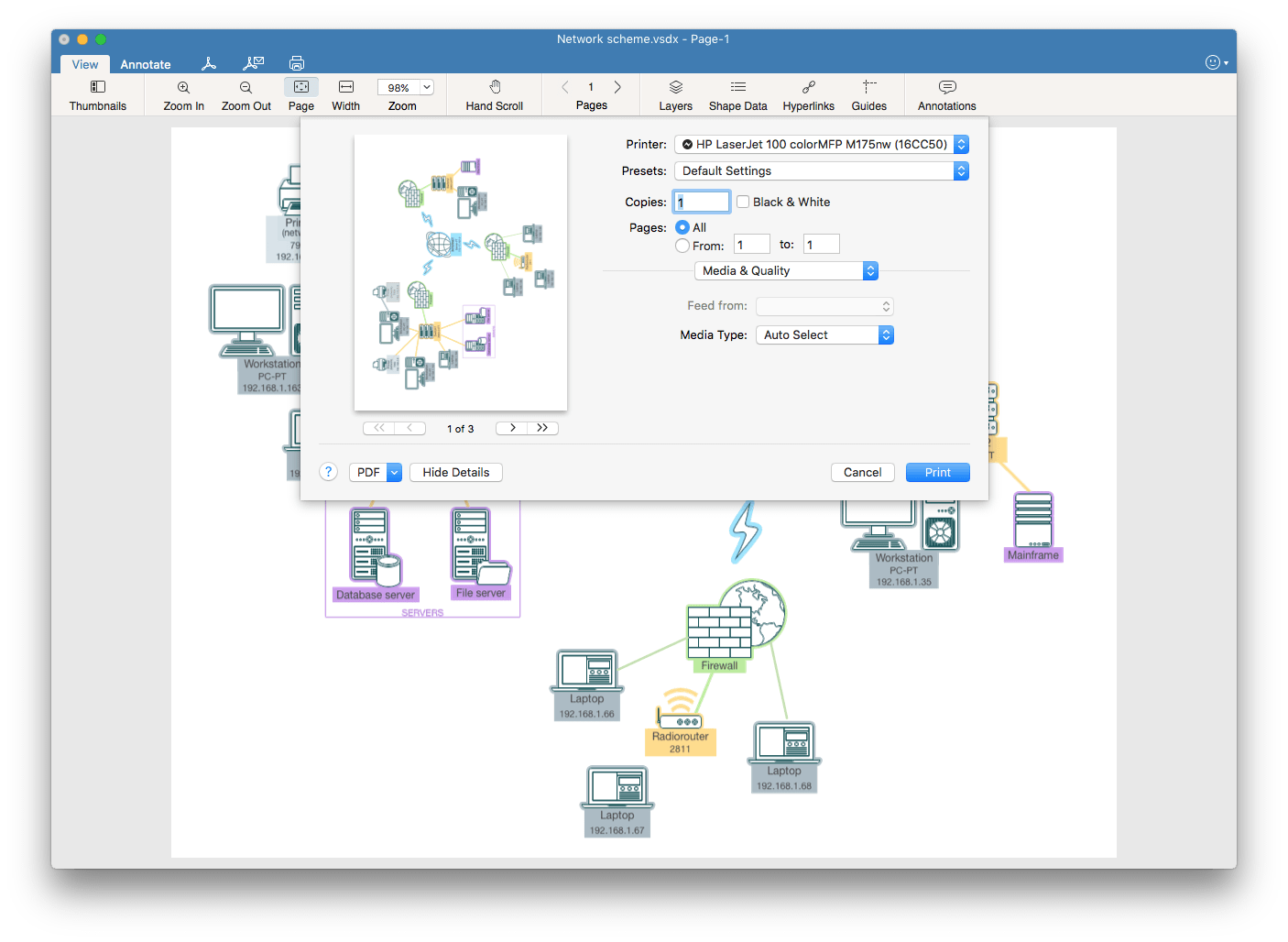 print visio drawings on Mac