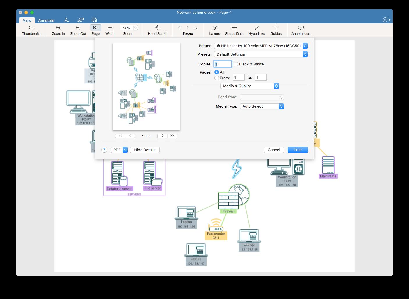 print visio drawings on Mac