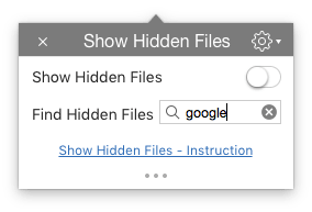 find any file with show hidden files