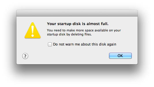 Your startup disk is full
