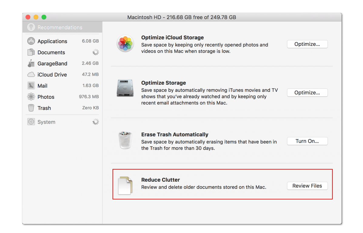 optimize storage on macOS Sierra