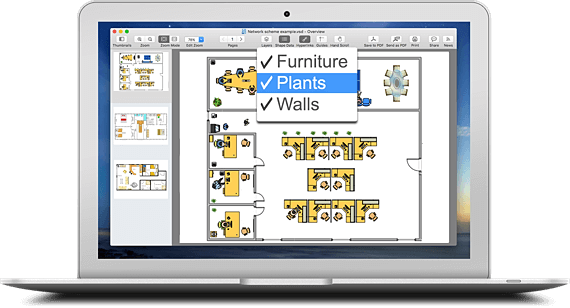 hidden layers Visio on mac