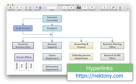visio hyperlinks on orgchart on mac