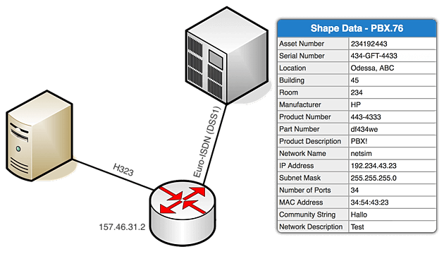 visio network diagram shape data on Mac