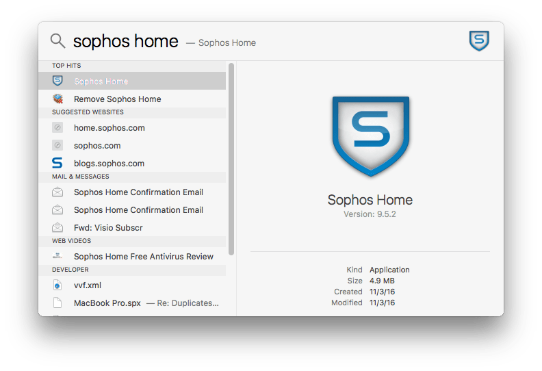 Find Remove Sophos Home wth Spotlight