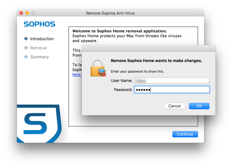 Launch uninstaller for Sophos