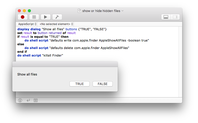 Apple script show hidden files