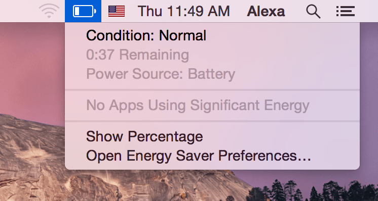 toolbar showing battery state on MacBook