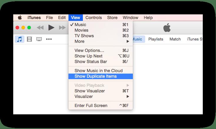 itunes menu - find duplicates