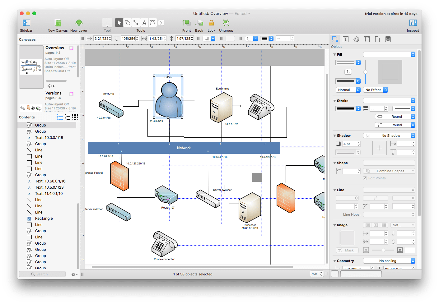 Omnigraffle Pro software window