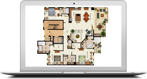 MacBook screen showing house layout