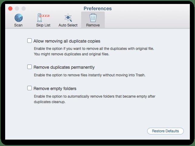 remove duplicates - preferences