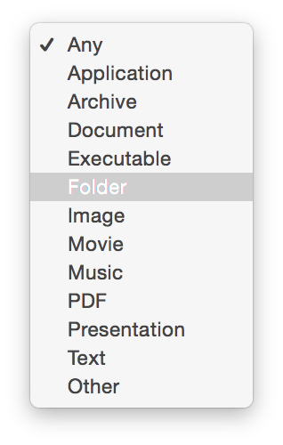 Drop-down menu for choosing kind of files