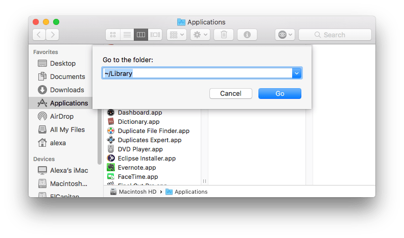 Finder panel for Go to Library command