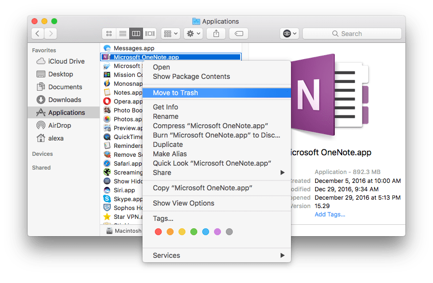 Uninstall OneNote on Mac
