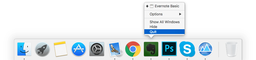 quit option for evernote in dock panel
