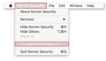 Uninstall Norton Security option selected in Norton Security menu bar