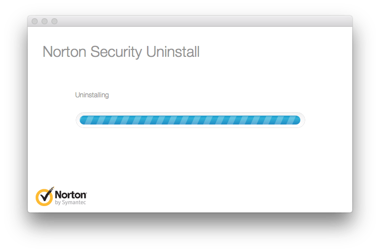 Norton Security Uninstall  window - Uninstalling process
