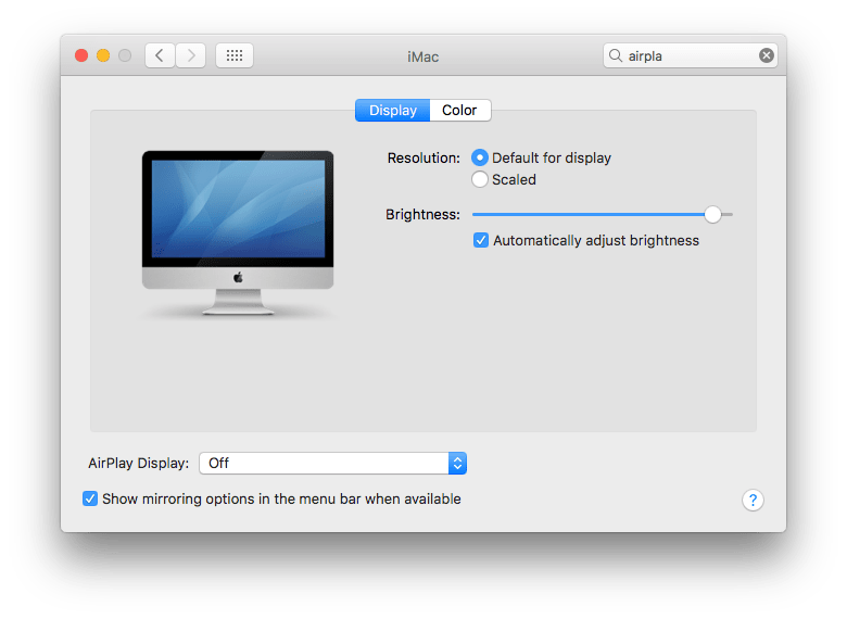 mirroring options window for Airplay on iMac