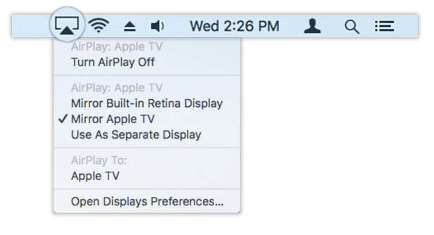 Airplay icon and drop menu in toolbar