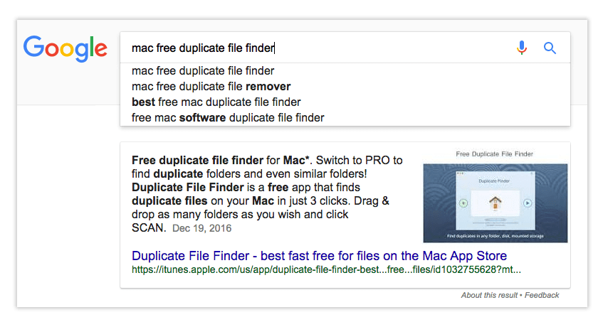 duplicate finder in google