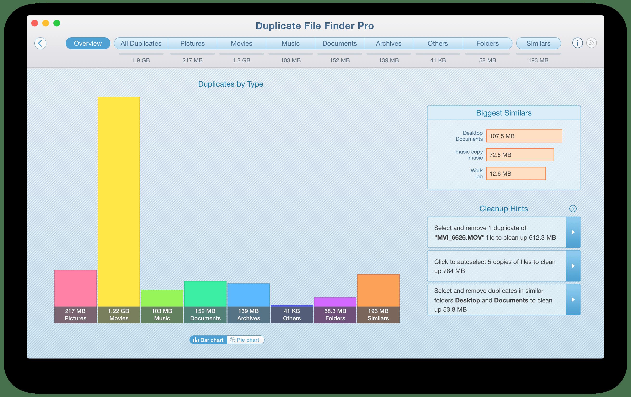 duplicates disk usage