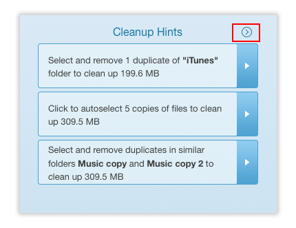 cleanup hints section