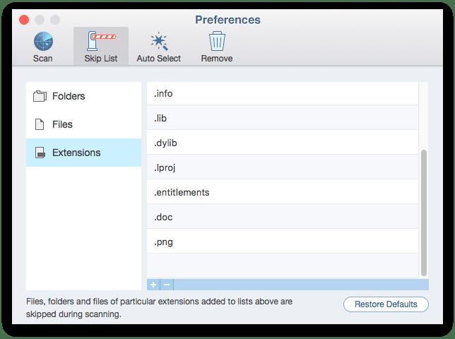 skip duplicate files extensions