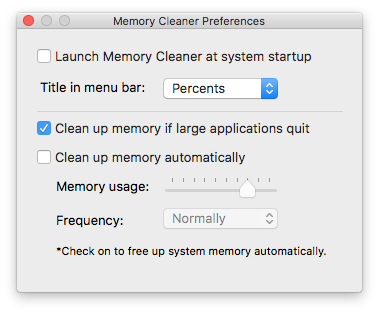 memory cleaner preferences window