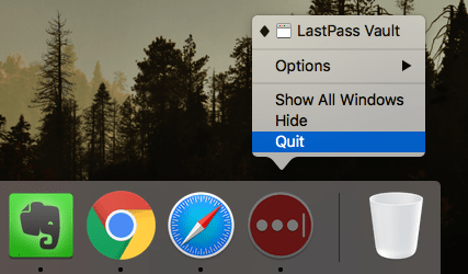 The Quit LastPass Dock command selected