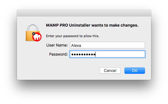 window with username and password to confirm uninstalling mamp
