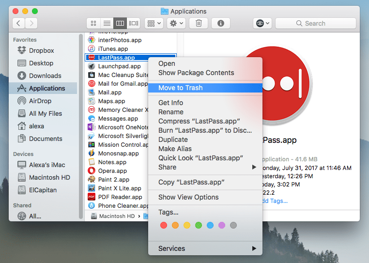 Move to Trash context menu command selected for LastPass application in Finder