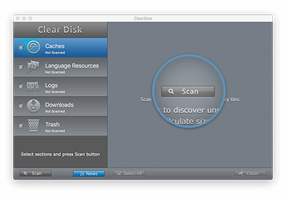 Clear Disk app window showing Scan button