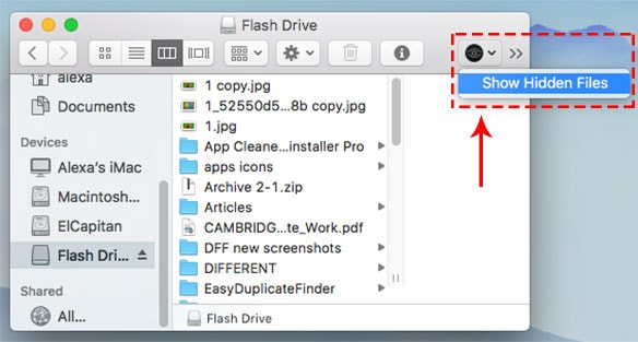 Finder with Funter option to show hidden files