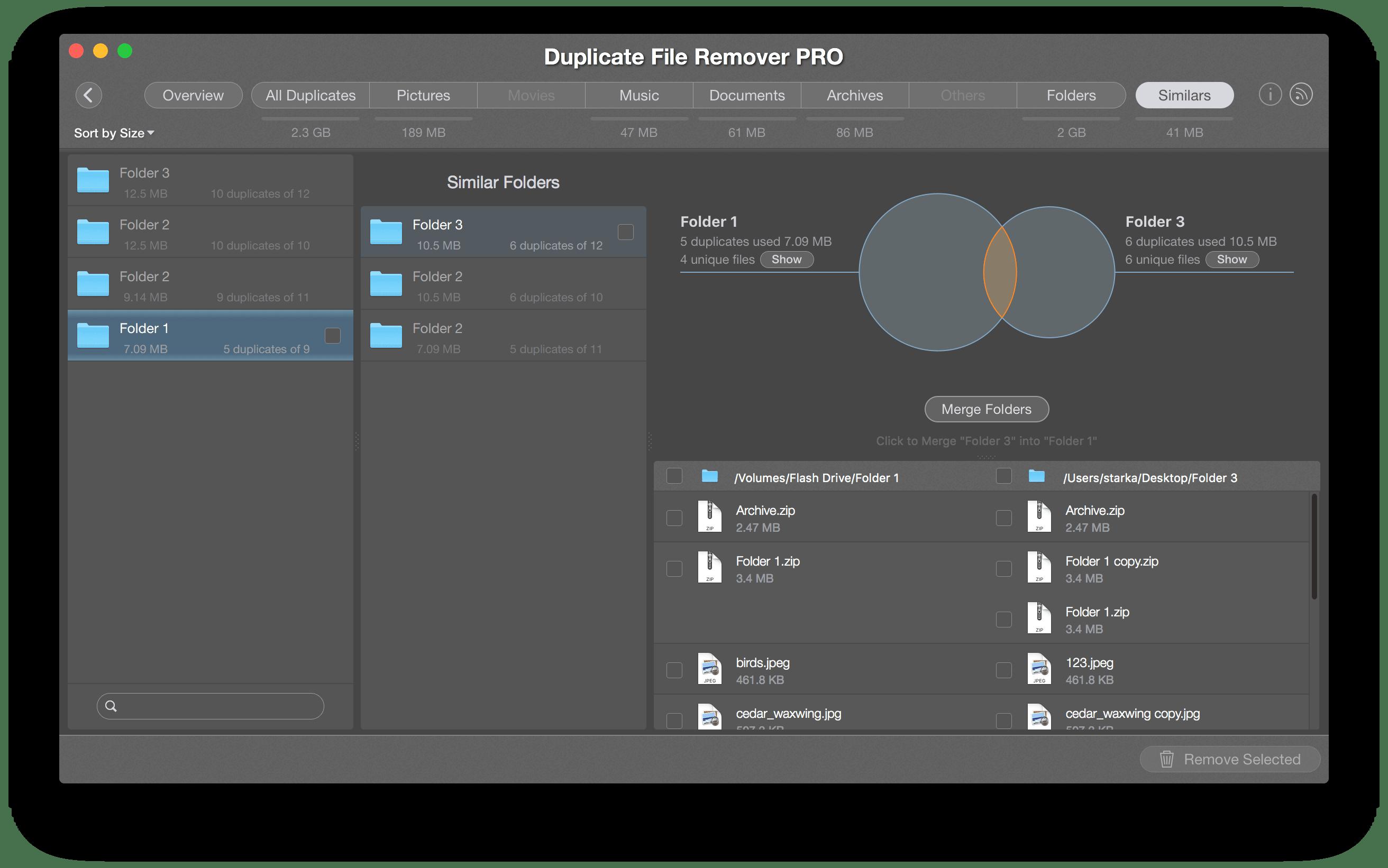 similar folders - merge folders