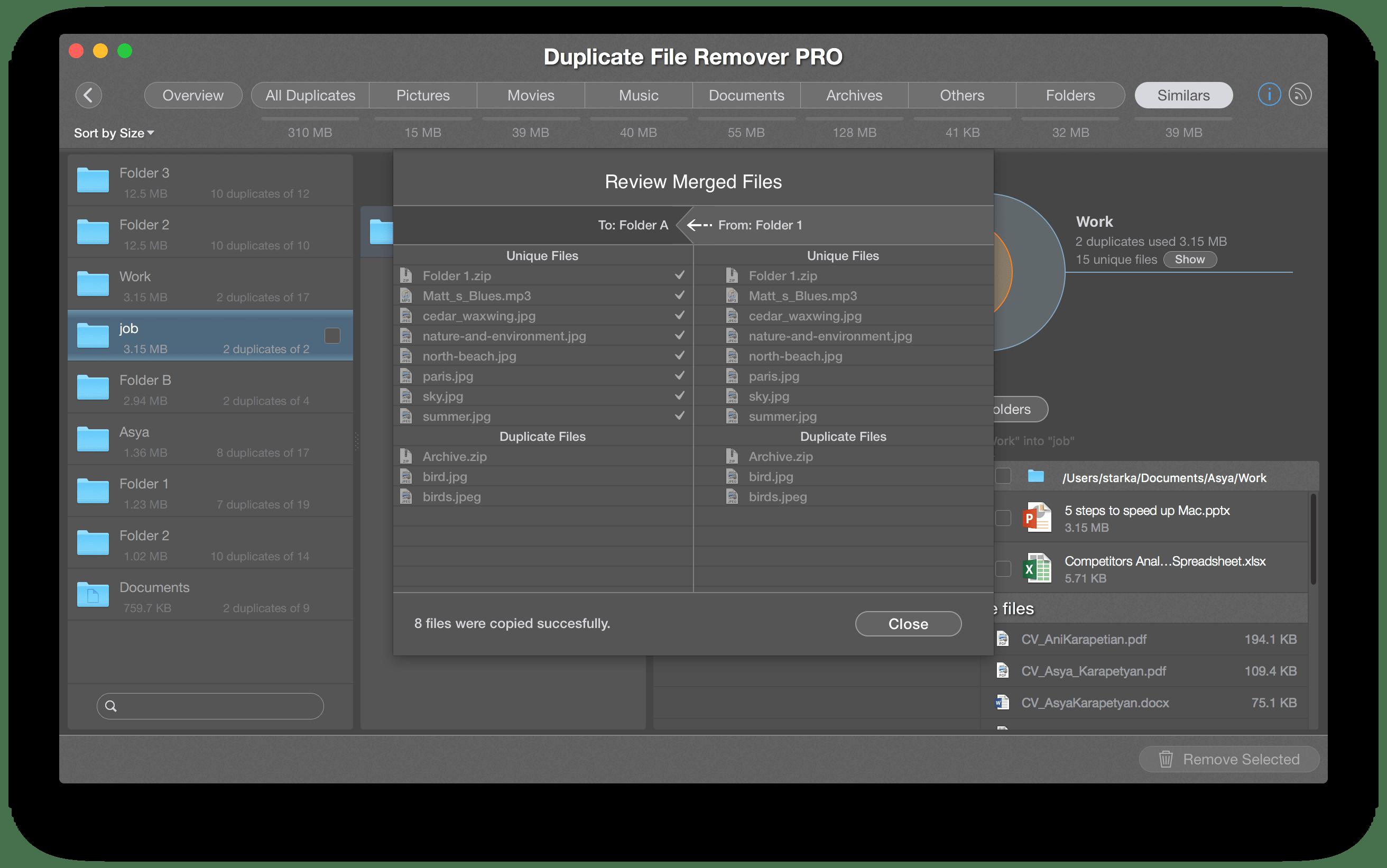 merge folders results